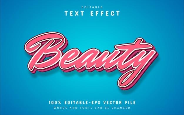 Texto de beleza, efeito de texto estilo desenho animado rosa