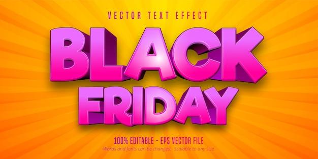 Texto de black friday, efeito de texto editável em estilo cartoon