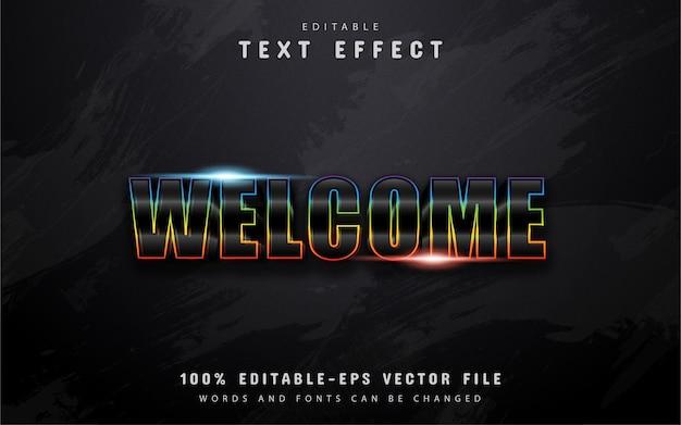 Texto de boas-vindas, efeito de texto gradiente colorido