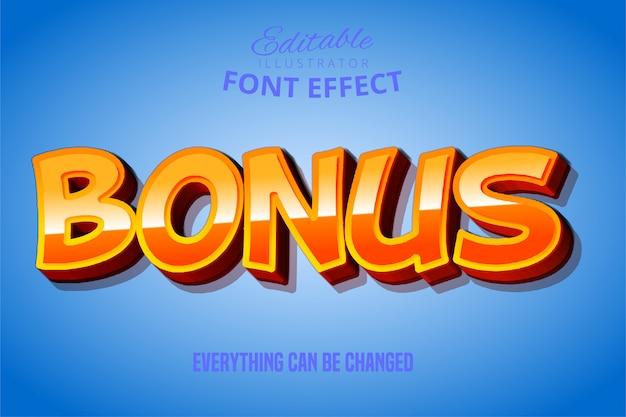 Texto de bônus, efeito 3d vermelho e amarelo fonte editável