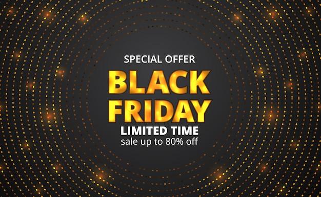 Texto de brilho dourado de festa de venda sexta-feira preta com padrão de círculo de brilho de ouro de ponto