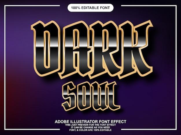 Texto de brilho preto com efeito de fonte de contorno de ouro