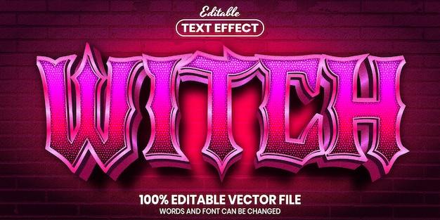 Texto de bruxa, efeito de texto editável de estilo de fonte