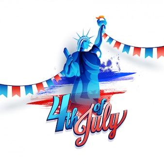 Texto de caligrafia 4 de julho com a estátua da liberdade