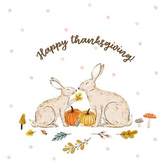 Texto de caligrafia de ação de graças feliz com mão desenhada coelhos e abóboras.