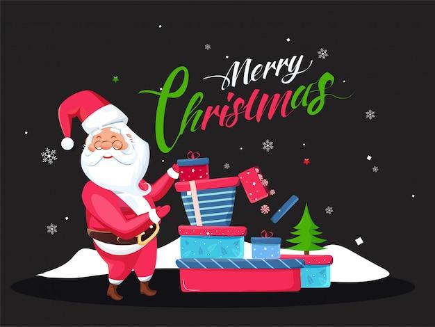 Texto de caligrafia de feliz natal com árvore de natal e ilustração de papai noel segurando caixas de presente em preto. cartão de felicitações