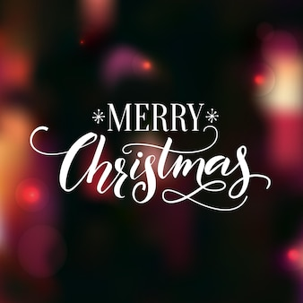Texto de caligrafia de feliz natal com fundo de noite escura de swashes com luzes e efeito bokeh