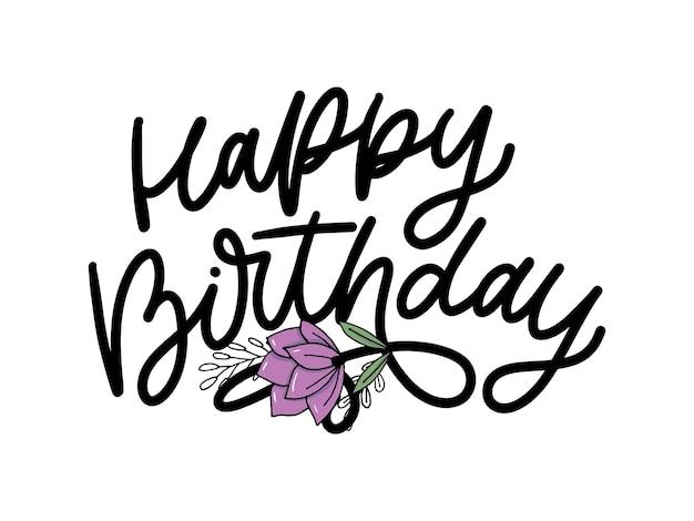 Texto de caligrafia de letras de feliz aniversário
