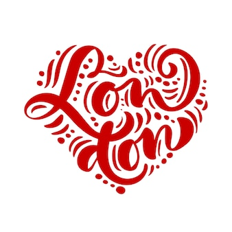 Texto de caligrafia de londres em forma de coração