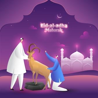 Texto de caligrafia elegante de eid-al-adha com homem e cabra na frente da mesquita
