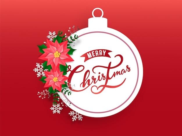 Texto de caligrafia feliz natal no quadro de forma bugiganga decorado com flocos de neve e flores sobre fundo vermelho.