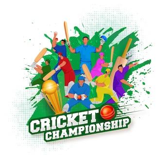 Texto de campeonato de críquete de estilo adesivo com bola vermelha, copa do troféu de ouro 3d e jogadores de críquete em fundo de efeito de pincel branco e verde.