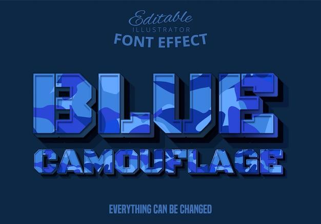 Texto de camuflagem azul, efeito de texto editável