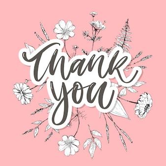 Texto de carta de flores bonito cartão de agradecimento Vetor Premium