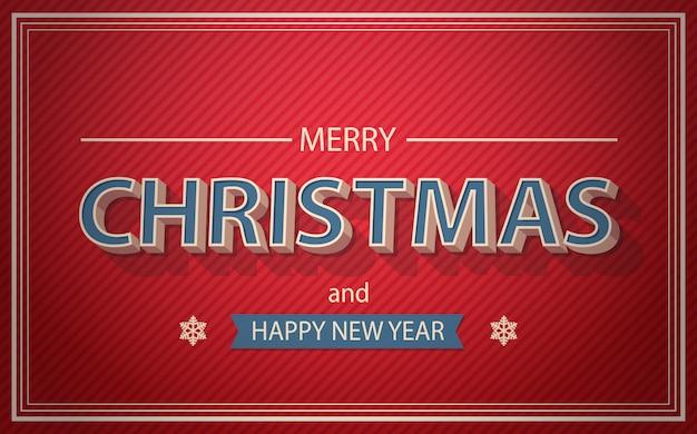 Texto de cartão de natal e ano novo no conceito de boas festas de fundo vermelho