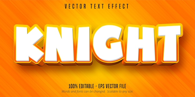 Texto de cavaleiro, efeito de texto editável estilo desenho animado