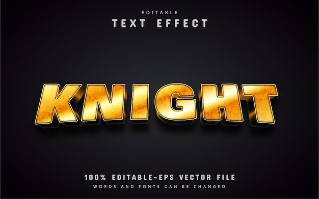 Texto de cavaleiro, efeito de texto estilo ouro
