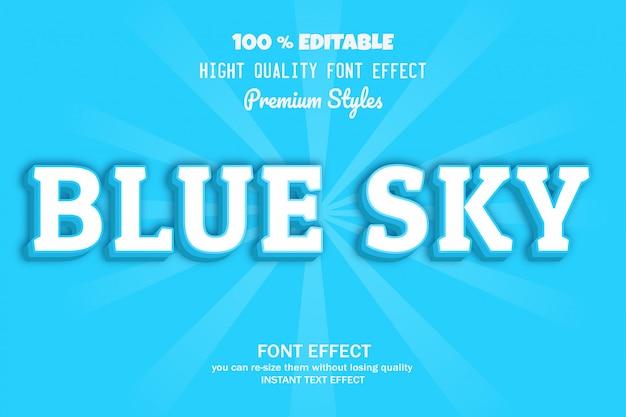 Texto de céu azul, efeito de fonte