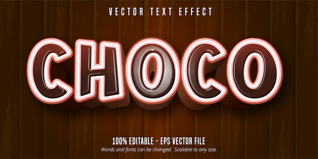 Texto de chocolate, efeito de texto editável estilo cartoon sobre fundo de madeira