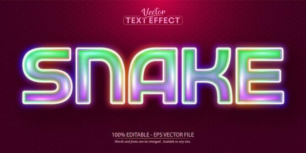 Texto de cobra, efeito de texto editável em estilo neon