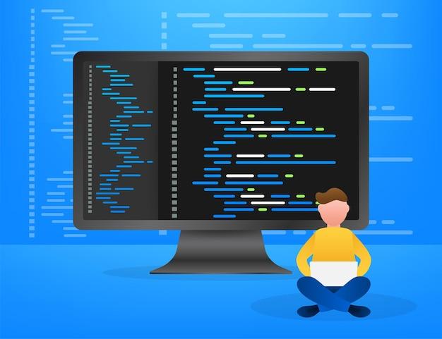 Texto de código digital java. conceito de vetor de codificação de software de computador. script de codificação de programação java, código de programa digital na ilustração de tela. ilustração em vetor das ações.