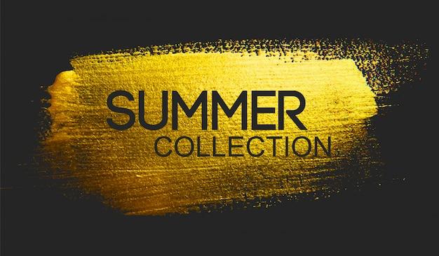 Texto de coleção de verão na escova dourada