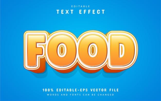 Texto de comida, efeito de texto de estilo desenho animado
