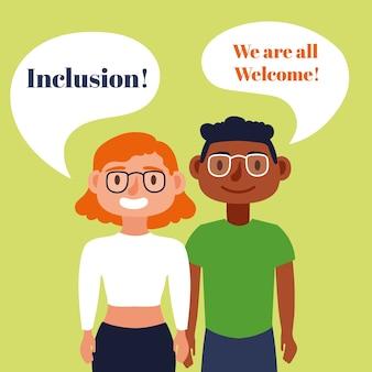 Texto de conceito de inclusão com personagens cegos falando