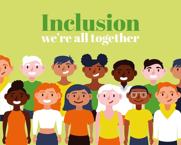 Texto de conceito de inclusão com personagens da comunidade