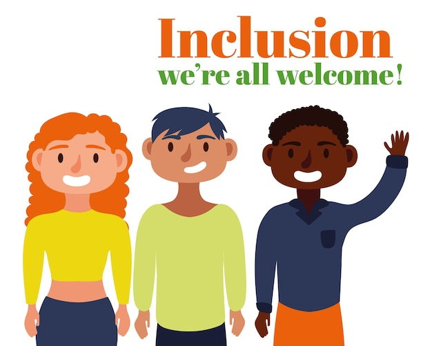Texto de conceito de inclusão com personagens de amigos do grupo