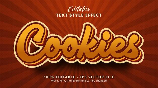 Texto de cookies em efeito de estilo em camadas de cor marrom, efeito de texto editável