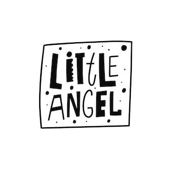 Texto de cor preta pequeno anjo desenhado à mão frase tipografia moderna ilustração vetorial