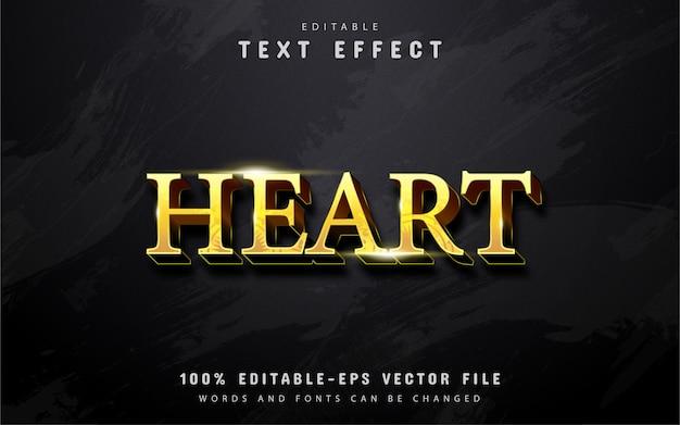 Texto de coração, efeito de texto estilo ouro