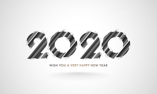 Texto de corte de papel cinza 2020 texto sobre fundo branco e mensagem dada desejar um feliz ano novo.