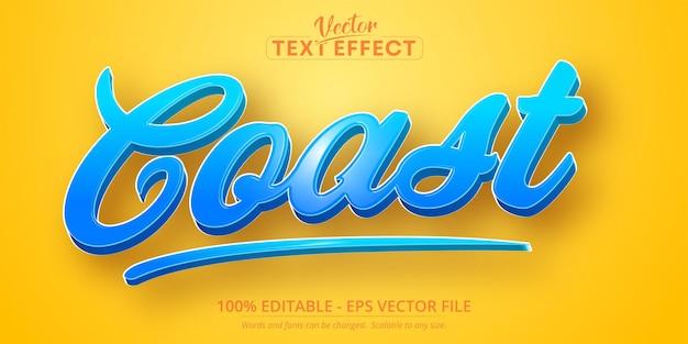 Texto de costa, efeito de texto editável estilo desenho animado