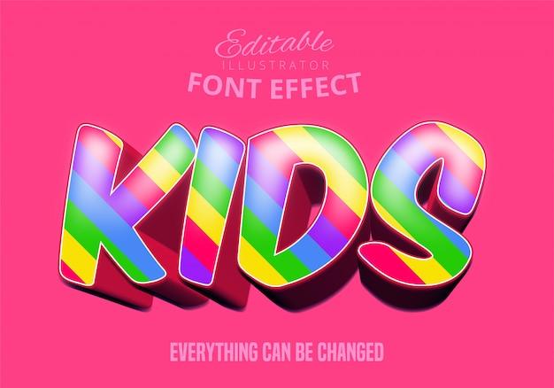 Texto de crianças, efeito de fonte editável