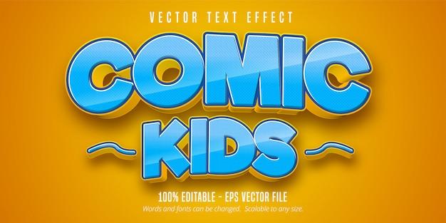 Texto de crianças em quadrinhos, efeito de texto editável de estilo cômico