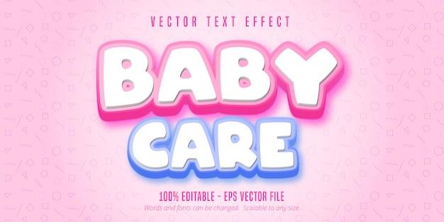 Texto de cuidados com o bebê, efeito de texto editável estilo desenho animado