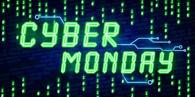 Texto de cyber monday em estilo neon