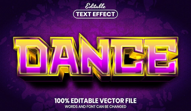 Texto de dança, efeito de texto editável