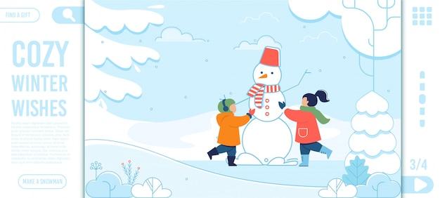 Texto de desejos de inverno e crianças felizes landing page