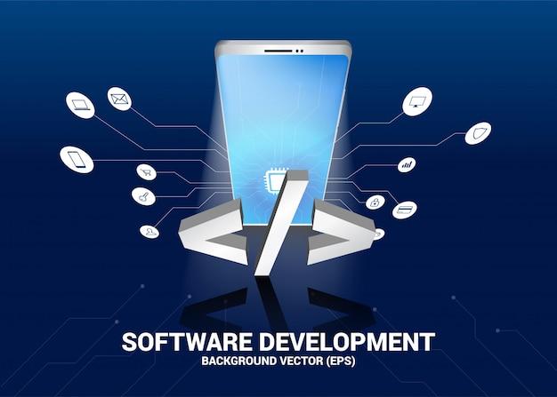 Texto de desenvolvimento de software e telefone móvel 3d com gráfico de linha de circuito