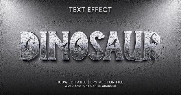 Texto de dinossauro, estilo de efeito de texto editável metálico prateado