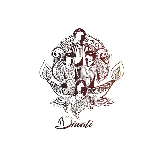 Texto de diwali feliz com fundo criativo de família feliz para o festival de diwali.