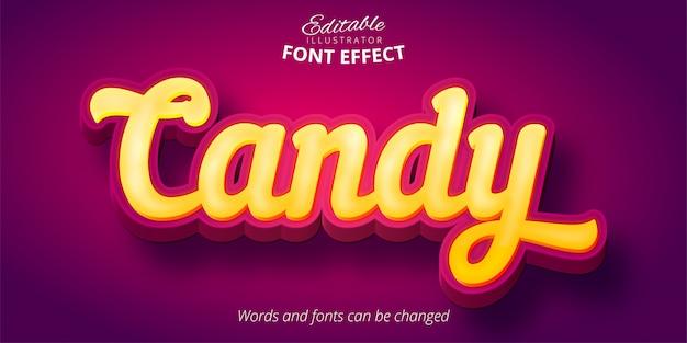 Texto de doces, efeito de fonte editável