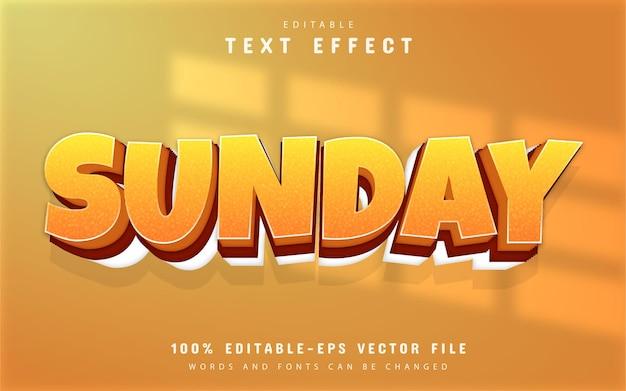 Texto de domingo, efeito de texto 3d laranja
