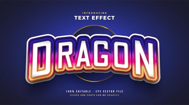 Texto de dragão colorido no estilo e-sport com efeito curvo. efeito de estilo de texto editável