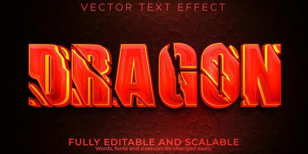 Texto de dragão vermelho com efeito de texto editável em vermelho e diabo