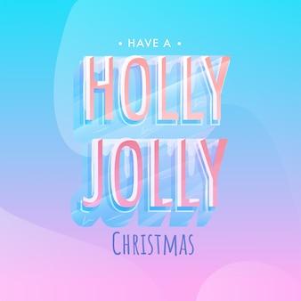 Texto de efeito de gelo holly jolly em fundo gradiente azul e rosa para feliz natal.