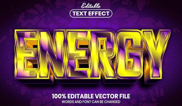 Texto de energia, efeito de texto editável